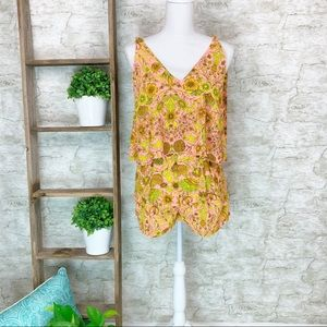 H&M | New Pink Yellow Floral Romper Size 4